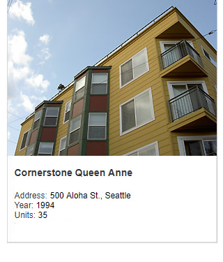 Photo of Cornerstone Queen Anne apartments. Address: 500 Aloha St., Seattle. Year: 1994. Units: 35. Value: $12 million..