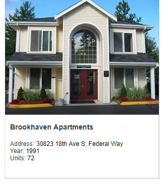 Photo of Brookhaven Apartments. Address: 30823 18th Ave S, Federal Way. Year: 1991. Units: 72. Value: $9 million.