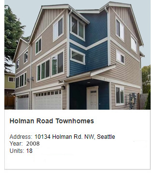 Photo of Holman Road Townhomes. Address: 10134 Holman Rd. NW, Seattle. Year: Construction started in February 2008 and will finish late the same year. Units: 18. Value: $7 million.